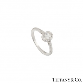 Tiffany & Co. Platinum Diamond Soleste Oval Ring